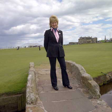 Maggie on the Swilcan Bridge at St. Andrews
